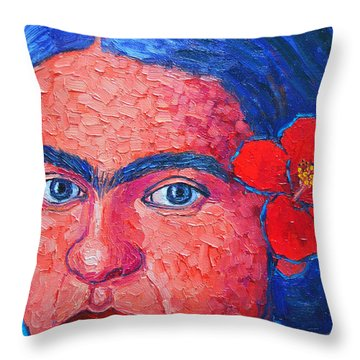 Young Frida Kahlo Throw Pillow by Ana Maria Edulescu