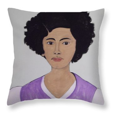 Young Frida Throw Pillow by Stephanie Moore