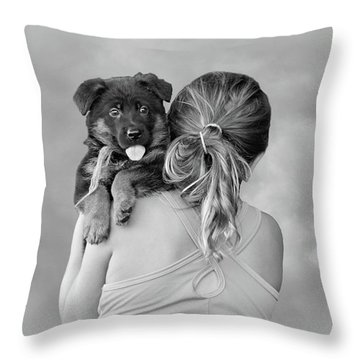 Young Girl And Puppy Throw Pillow