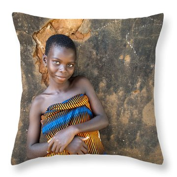 Young Girl In A Togo Village  Throw Pillow