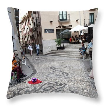 Throw Pillow featuring the photograph Young Girl Listening To Guitar - Grenada - Spain by Madeline Ellis