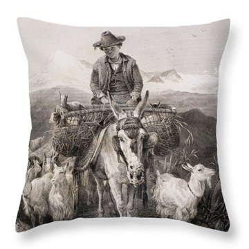 Young Granada Goatherder Riding A Throw Pillow