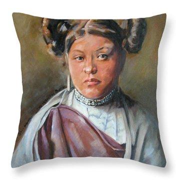 Young Hopi Girl Throw Pillow