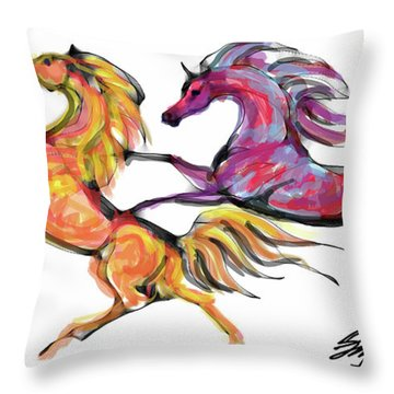 Young Horses Playing Throw Pillow