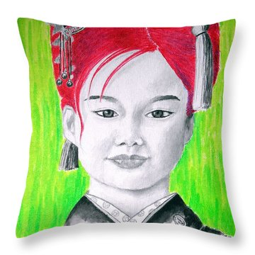 Young Japanese Beauty -- The Original -- Portrait Of Japanese Girl Throw Pillow