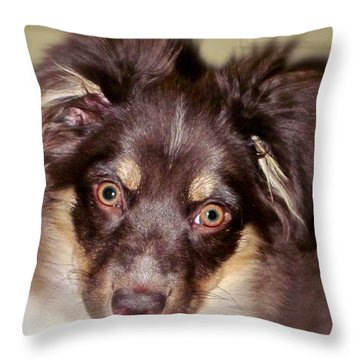 Young Lady Throw Pillow by Gwyn Newcombe