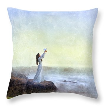 Young Lady Releasing A Dove By The Sea Throw Pillow