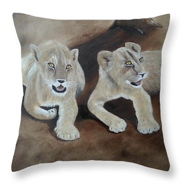 Young Lions Throw Pillow