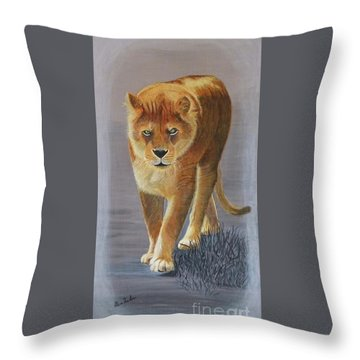 Young Male Lion Throw Pillow