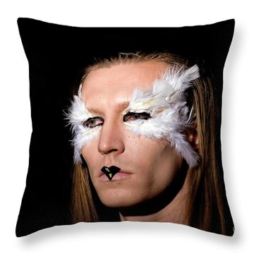 Young Male Model With Make Up Mask 1 Throw Pillow
