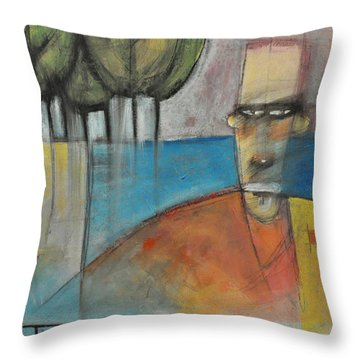 Young Man And The Sea With Trees Throw Pillow by Tim Nyberg