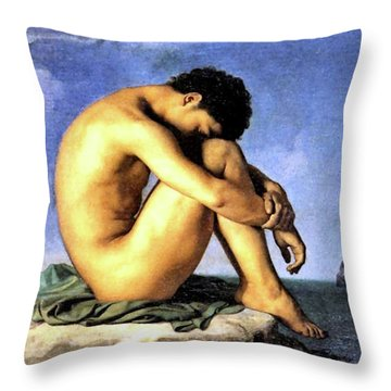 Young Man By The Sea Throw Pillow