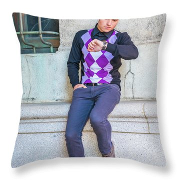 Throw Pillow featuring the photograph Young Man Casual Fashion In New York 15042518 by Alexander Image