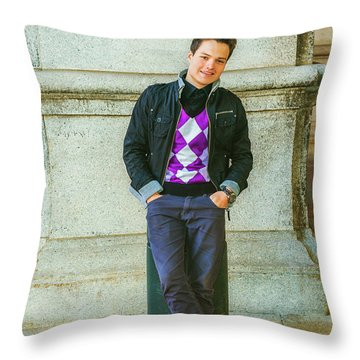 Throw Pillow featuring the photograph Young Man Casual Fashion In New York 15042519 by Alexander Image