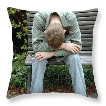 Young Man On Bench Throw Pillow