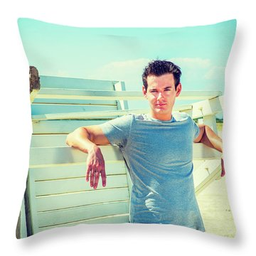 Young Man Relaxing On The Beach Throw Pillow