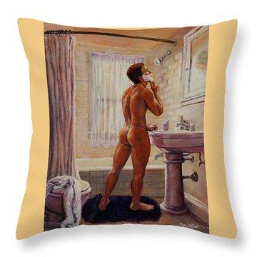 Young Man Shaving Throw Pillow