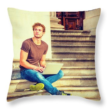 Young Man Working Outside In New York Throw Pillow