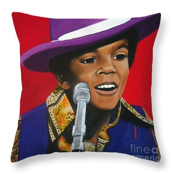 Young Michael Jackson Singing Throw Pillow