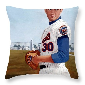 Young Nolan Ryan - With Mets Throw Pillow