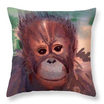 Young Orangutan Throw Pillow by Donald Maier