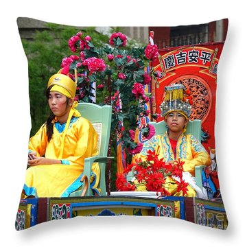 Throw Pillow featuring the photograph Young People Dreesed In Traditional Chinese Robes by Yali Shi