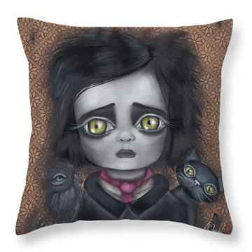 Young Poe Throw Pillow