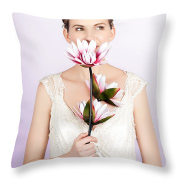 Young Romantic Woman With Lotus Flowers Throw Pillow