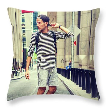 Young Russian Man Traveling In New York Throw Pillow