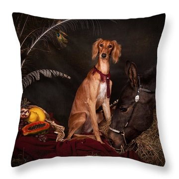 Young Saluki Dog With A Horse Throw Pillow