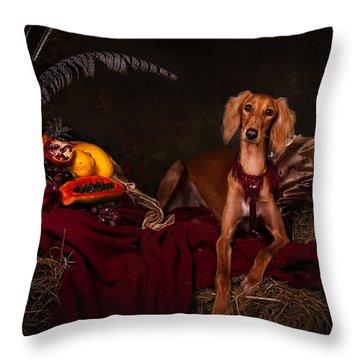 Young Saluki Dog With Fruits Throw Pillow
