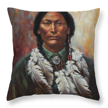 Young Sittingbull Throw Pillow by Harvie Brown