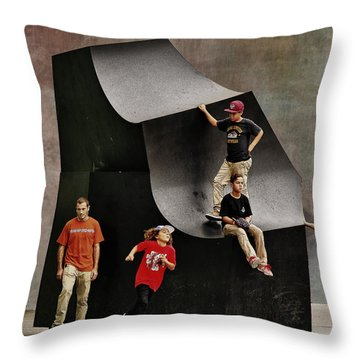 Young Skaters Around A Sculpture Throw Pillow