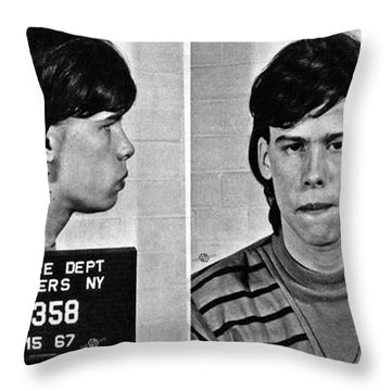 Young Steven Tyler Mug Shot 1963 Pencil Photograph Black And White Throw Pillow