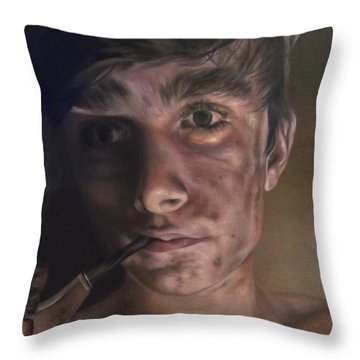 Young Sweep With His Pipe Throw Pillow by Cherise Foster