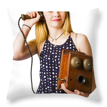 Throw Pillow featuring the photograph Young Telephonist Phoning Using Old Vintage Phone by Jorgo Photography - Wall Art Gallery