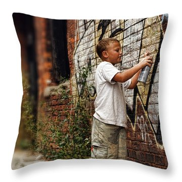 Young Vandal Throw Pillow by Gordon Dean II