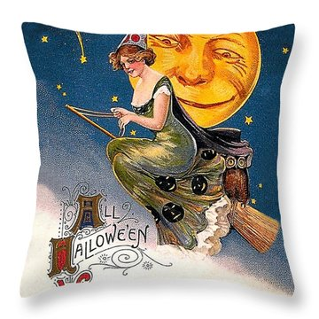 Young Witch Ride Throw Pillow