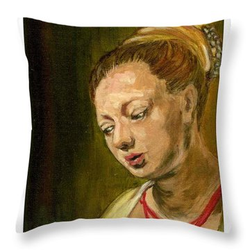 Young Woman Throw Pillow by Asha Sudhaker Shenoy