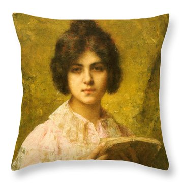 Young Woman Holding A Book Throw Pillow