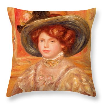 Young Woman In A Blue Hat Throw Pillow by Pierre Auguste Renoir