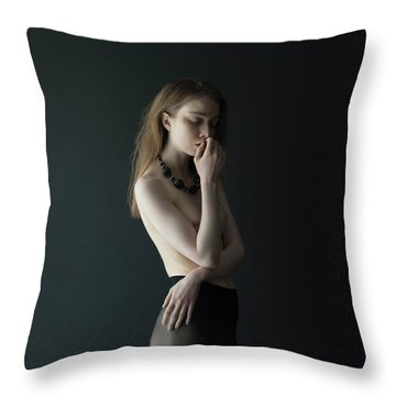Young Woman In Pantyhose Throw Pillow
