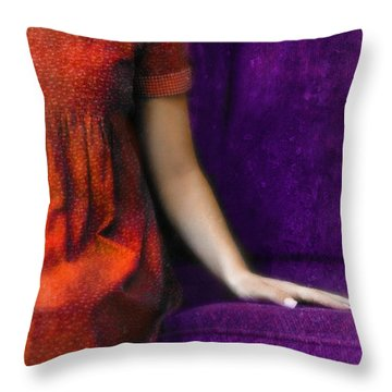 Young Woman In Red On Purple Couch Throw Pillow by Jill Battaglia