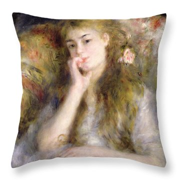 Young Woman Seated Throw Pillow