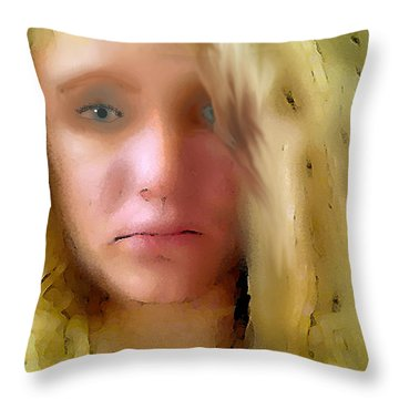 Young Woman Throw Pillow by Walter Chamberlain