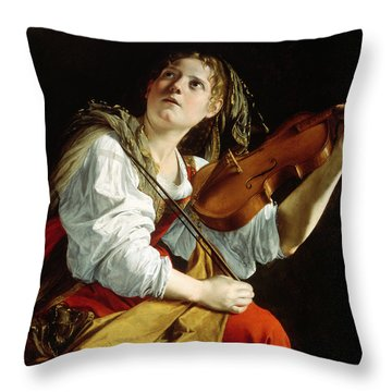 Young Woman With A Violin Throw Pillow
