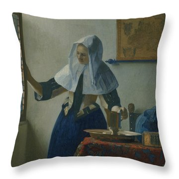 Young Woman With A Water Pitcher  Throw Pillow