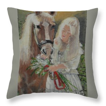Young Woman With Horse Throw Pillow