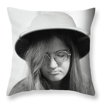 Young Woman With Long Hair, Wearing A Pith Helmet, 1972 Throw Pillow