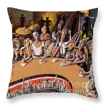 Throw Pillow featuring the drawing Your Bar by Valerie White